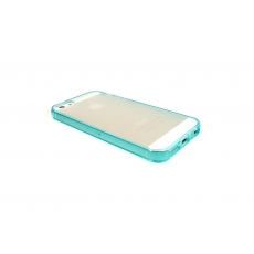 Custodia Flessibile Bordo Azzurro e Retro Opaco per iPhone 5/5S