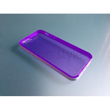Custodia Flessibile Bordo Rinforzato con Interno Trasparente per iPhone 5 - Viola
